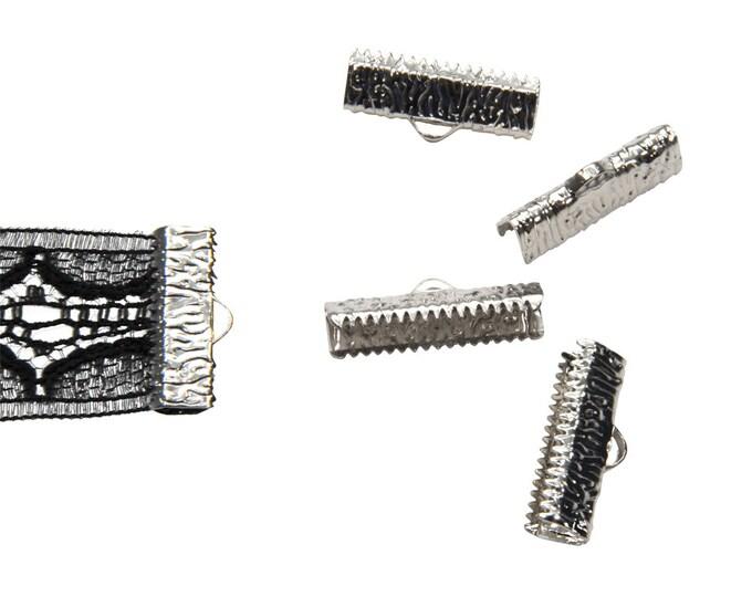 16 pieces  20mm  (3/4 inch)  Platinum Silver Ribbon Clamp End Crimps - Artisan Series