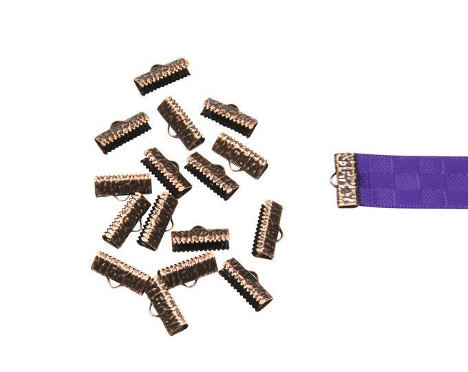 150 pieces  16mm ( 5/8 inch )  Antique Copper Ribbon Clamp End Crimps - Artisan Series