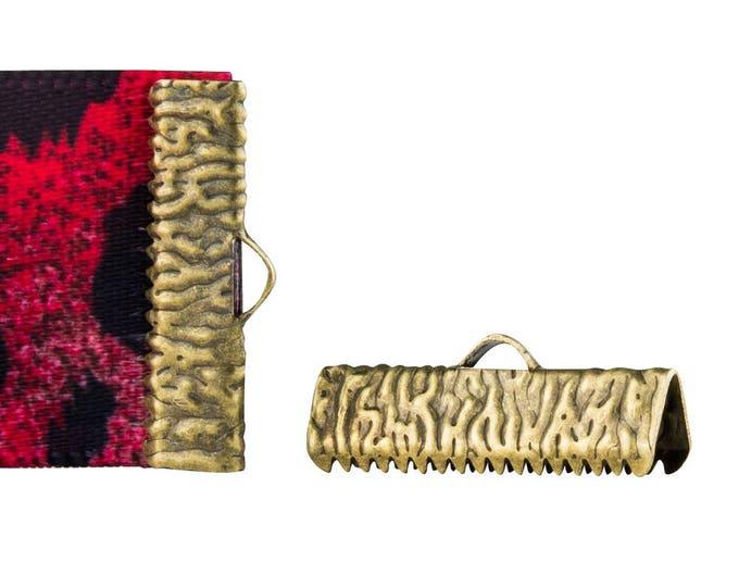 16 pieces  22mm (7/8 inch)  Antique Bronze Ribbon Clamp End Crimps - Artisan Series