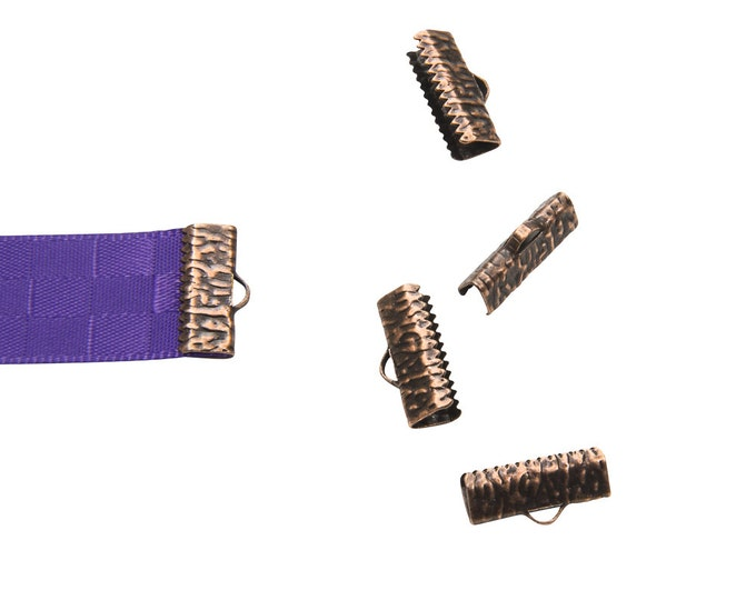 16mm or 5/8 inch Antique Copper Ribbon Clamps End Crimps - with or without loop - Artisan Series - 16 pieces