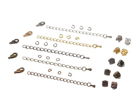 6mm (1/4 inch) Ribbon Choker Findings Kit in Antique Bronze, Gold, Platinum Silver, Gunmetal, Antique Copper, Mixed - Artisan & Dots Series