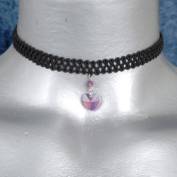 Purple Lavender Opal Swarovski Crystal Heart Pendant Choker Necklace