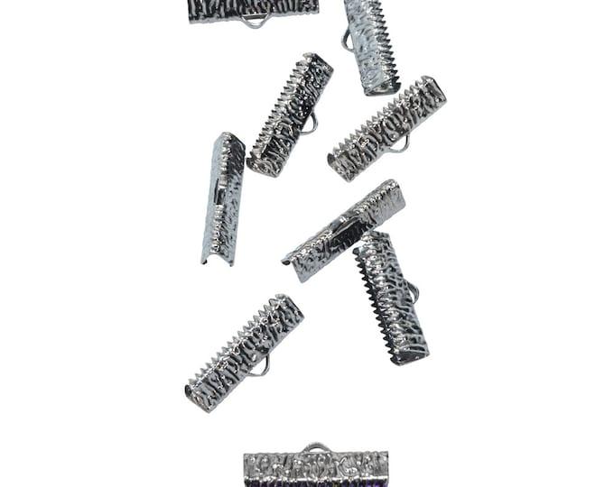 50 pieces  22mm (7/8 inch)  Gunmetal Ribbon Clamp End Crimps - Artisan Series