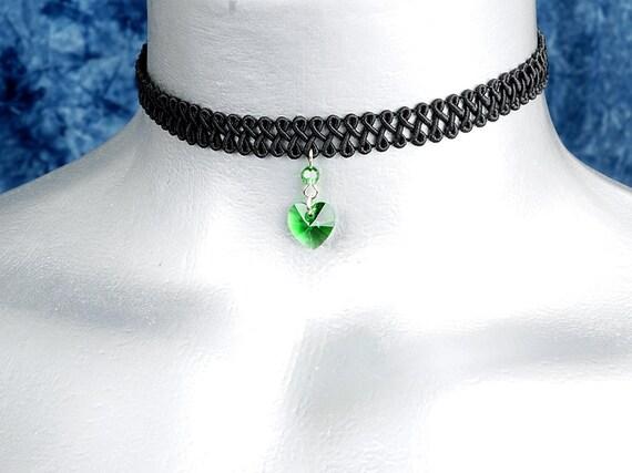 Moss Green Swarovski Crystal Heart Pendant Choker Necklace