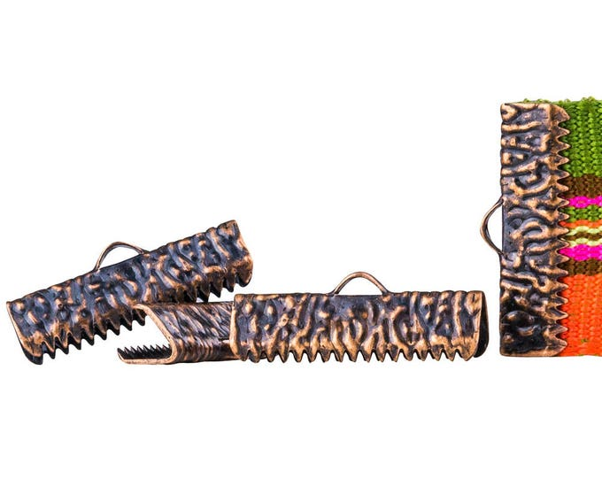 150 pieces  22mm  (7/8 inch)  Antique Copper Ribbon Clamp End Crimps - with or without loop - Artisan Series