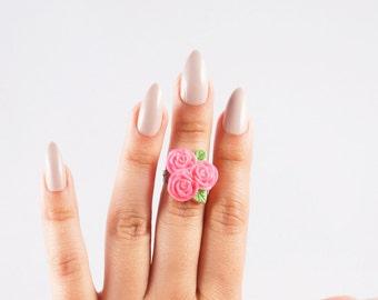 Hot Pink Rosette Cluster Ring
