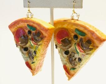 Faux Food / Mushroom + Veggie / Pizza Slice / Gold Tone Hook Dangle ONE OF A KIND Earrings