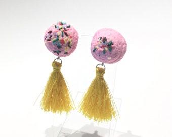 Baby Pink Faux Foodie Cutie Ice Cream Scoop w/ Sprinkles & Yellow Medium Tassel Stud Post Earrings