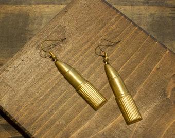 Bronze Lipstick Dangle Hook Style Earrings