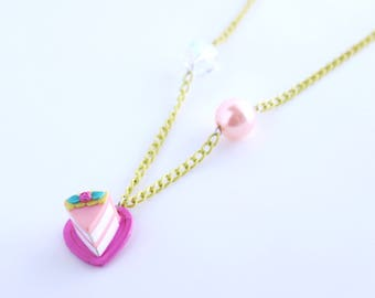 Dolly Slice of Cute Cake Beaded Necklace