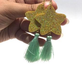 Gold Holographic Glitter Acrylic Stars with Classy Mini Mint Tassels & Gold-tone Hook Dangle Earrings