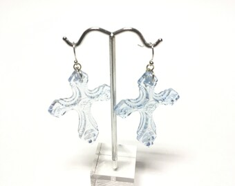 Powder Blue Plastic Baroque Style Dangle Earring