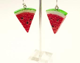 Little Watermelon Slice Dangle Hook Earrings*