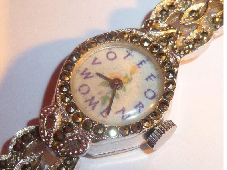 Vintage Ladies Marcasite Suffragette Wrist Watch image 0