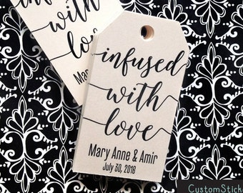 40 infused with love tags, wedding tags, favor tags, tea tags, personalized tags, rustic tags, kraft tags, luggage tag (T-92)