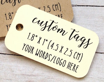 60 custom MINI tags 1.8 x 1 inch, wedding favors, product tag, logo tag, personalized tags, gift tag or favor tag (T-14)