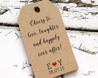 40 cheers to love, laughter and happily ever after tags, personalized tags, party favor, gift tag, wedding favor tag, shipping tag (T-17)