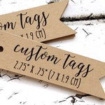"""custom flag tags with your words or logo, 2.75"""" x .75"""" personalized tag, custom tag, product tag, logo tag, pennant tag, gift tag  (T-39)"""