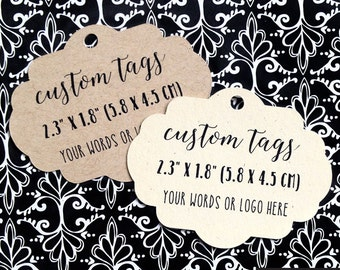 30 custom tags, fancy oval shape, personalized tags, wedding favor tags, logo tags, product tags, favor tags, gift tag, kraft tag (T-91)