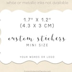 custom stickers with your words or logo, MINI size scalloped rectangle, wedding favors, envelope seals, product labels (CSR-S199)