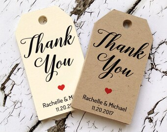 thank you tags personalized with your names and wedding date, 4 sizes to choose from, calligraphy tag, tags for favors, wedding tags (T-131)