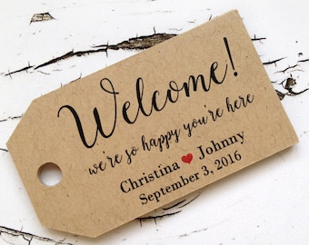 Welcome tags, destintation wedding tags, wedding favor tags, welcome bag tag, rustic wedding, personalized wedding tag (T-119)