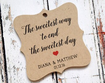 24 the sweetest way to end the sweetest day, custom wedding tags, wedding favor tags, kraft tags, personalized tags, bracket tags (T-120)