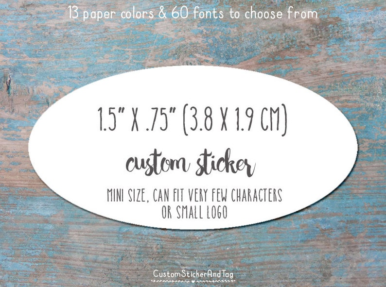favor sticker S-100-CO logo sticker product stickers custom stickers oval 1.5 x .75 personalized with your words or logo kraft label