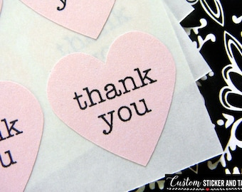 108 thank you heart stickers .75 inch soft pink paper, envelope seals, mini stickers, wedding favors, thank you labels (S-28)