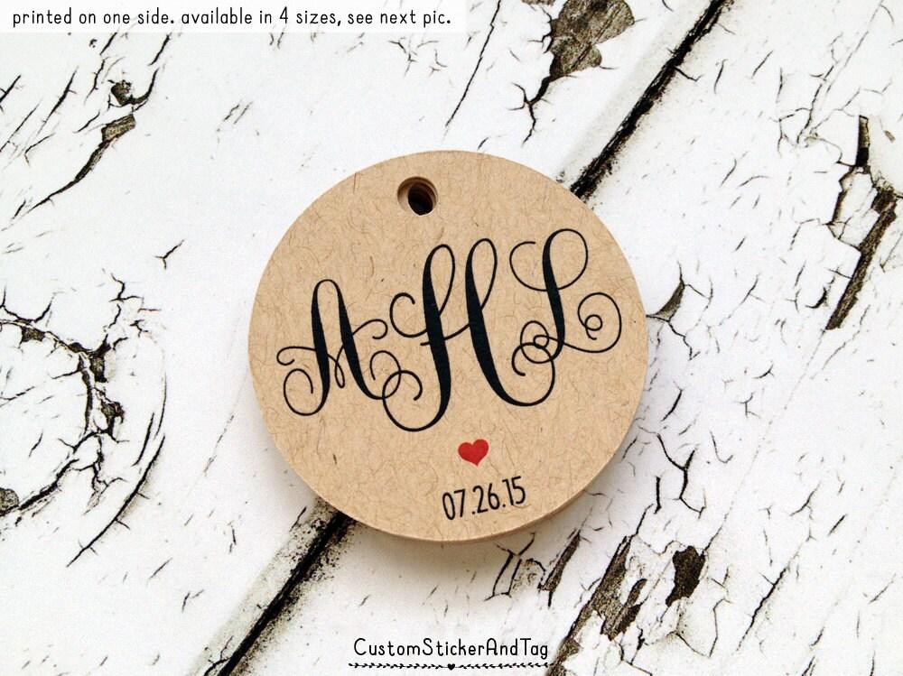Custom Monogram Tags Wedding Monogram Personalized Tags Etsy