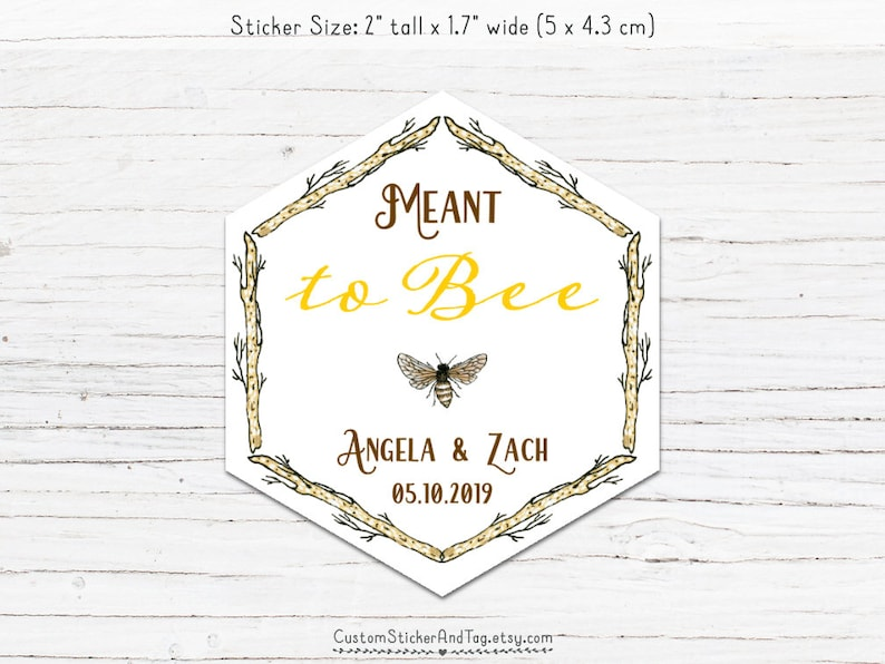 meant to bee hexagon stickers, branch border, vintage bee, personalized  stickers, honey favor stickers, wedding favor stickers (S-153)