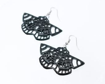 3D Printed Earrings Black Butterfly Earrings Art Nouveau Style Earrings 3D Printed Jewelry Art Nouveau Jewelry Moth Butterfly Silhouette