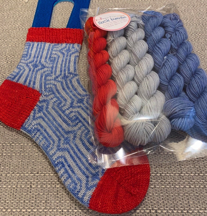 Sock yarn bundle with pattern chart, hand dyed yarn, sock knitting, merino,  nylon  FREE shipping and 25% discount on qualifying orders!