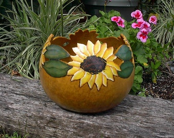 Painted Sunflower Gourd Bowl Planter Spring Flowers