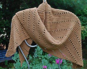 Hand Knit Cotton Shawl