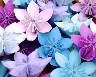 Etsy your place to buy and sell all things handmade purple and blue theme origami flowers 20pcs mightylinksfo