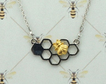 Bee Honeycomb Necklace / Outlander Inspired /Book 9 / Go Tell The Bees / Droughtlander / Minimalist / Bi-Color / Ships from France