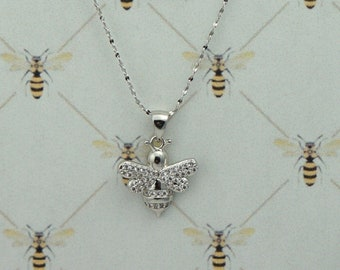Bee Bling! Necklace / Outlander Inspired / Book 9 / White Gold Filled Bee / Cubic Zirconia / Sterling Silver Chain / Ships from France