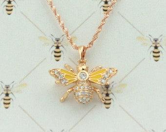 Bee Bling Pendant, Outlander Inspired, Book 9, Droughtlander, Minimalist, Rope Chain, Cubic Zirconia, Bridal Jewelry. Ships from France