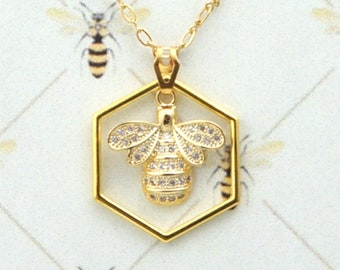 BeeBling! Gold Filled Necklace / Outlander Inspired / Book 9 / Go Tell The Bees / Droughtlander / Winter Bride / Hexagon / Ships from France