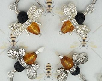 Bee Earrings, Outlander Inspired, Book 9, Silvertone Wings, Czech Glass, Rhinestones, Droughtlander, Bee Lives Matter too, Ships from France