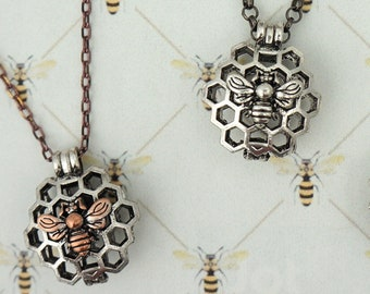 Bee Honeycomb Pendant, Outlander Inspired, Book 9, Antique Silvertone, Choose Chain & Length, Lava Rock, Droughtlander, Ships From France