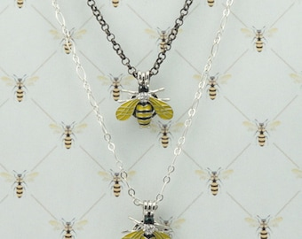 Bee Pendant, Lava Rock, Outlander Inspired, Book 9, Go Tell the Bees.. Yellow, Black, Choose Length, Ships from France