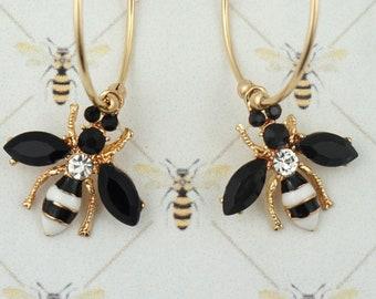 Bee Hoop Earrings / Outlander Inspired / Book 9 / 14k Gold Filled / Black & White Enamel / Rhinestones / Droughtlander / Ships from France