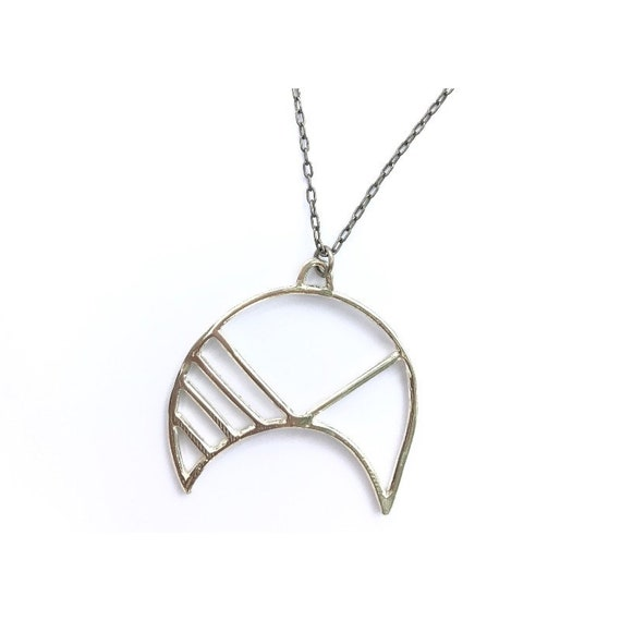 4d18a21316560 Geometric Summer Moon Necklace Sterling Silver