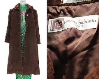 Vintage 1980's PIERRE BALMAIN Long Fur Coat // Size M