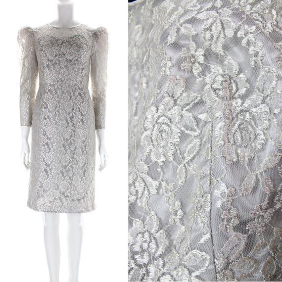 335f4728ecdd Vintage 80s Formal Dress S    Silver Lace Long Sleeve Dress