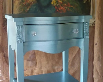 Nightstand ,Bow Front Romantic Boudoir Bedside Table, Vintage Wood Metallic Finish, French Provincial Style Poppy Cottage  Painted Furniture