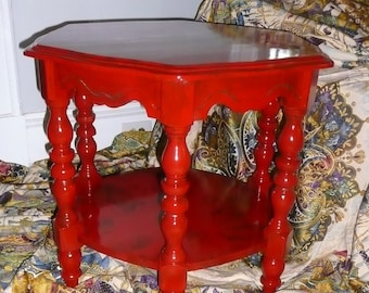 Coffee Table Retro MOD Jazzy Poppy Accent Wood Coffee Table Lacquer Red Finish Vintage Poppy Cottage Painted Furniture