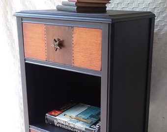 Nightstand, Lone Star Deco Bedside Table in Black Finish ,Mid Century ,Wood ,Vintage Poppy Cottage Painted Furniture